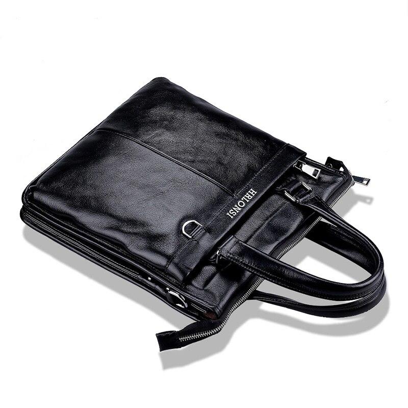 Real Cowhide Genuine Leather Mens Business Briefcase Handbag Shoulder Bag Men Messenger Bags College