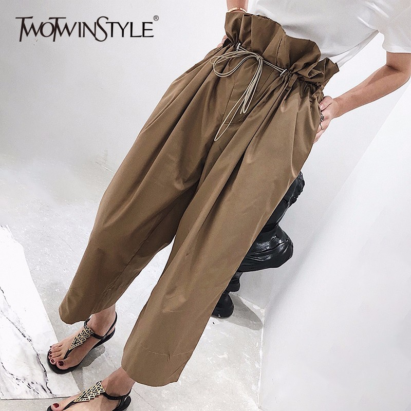 TWOTWINSTYLE Draw String Wide Leg Pants Female High Waist Pocket Oversize Long Trousers 2018 Spring Fashion Casual Clothing