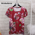 Donna Summer Fashion Women Short Sleeve T Shirt Flowers Printed Bees Embroidery Summer S-4XL Plus Size Casual T-shirts T532Z