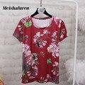 Donna Summer Moda Mujeres Camiseta de Manga Corta de Flores Impreso Bordado Abejas Verano S-4XL Tallas grandes Casual Camisetas T532Z