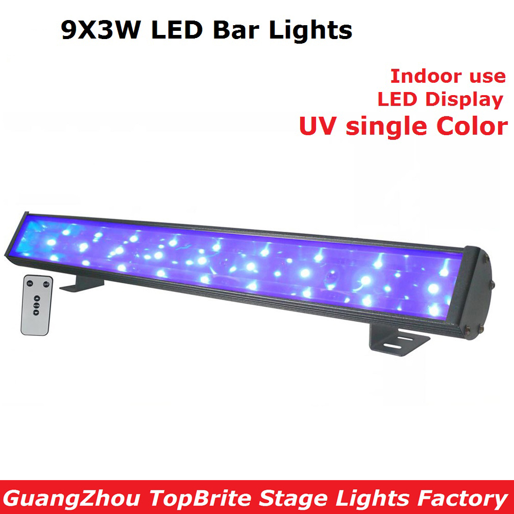 2Pcs 9X3W Led Bar Lights UV Color LED Wall Washer Lamp Landscape Wash Wall Lights For Indoor Decoration With IRC Remote Control 2017 hot led display space isolator recharge base remote control uv lamp vacuum cleaners