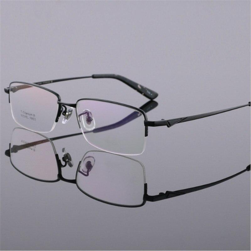 Mode hommes lunettes or ultra-léger titane cadres lunettes pour hommes optique cadre mince jambe demi-cerclée 05