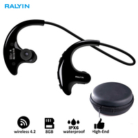 RALYIN Wearable Mp3 Music Player Sport Wireless Headphones Bluetooth Earbuds Built in 8GB Memory Storage Headset for Running Gym