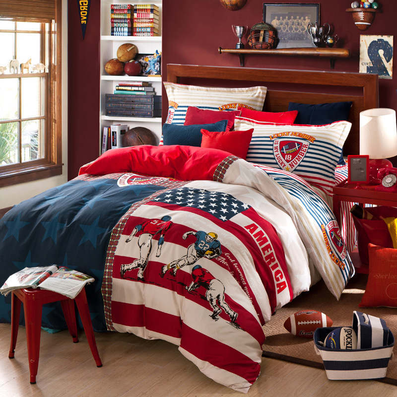 red blue American football flag print bedding set queen size for children s  home decor cotton comforters. Popular Football Bed Set Buy Cheap Football Bed Set lots from