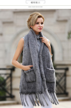 Hot Sale Women 2017 Spring Casual Natural Mink Fur Shawl Cape Black And Sapphire Scarf Pocket High Quality Fashion Pashmina