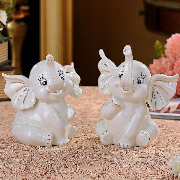Cute Porcelain Baby Elephants Figurine Pair Ornamental Ceramics