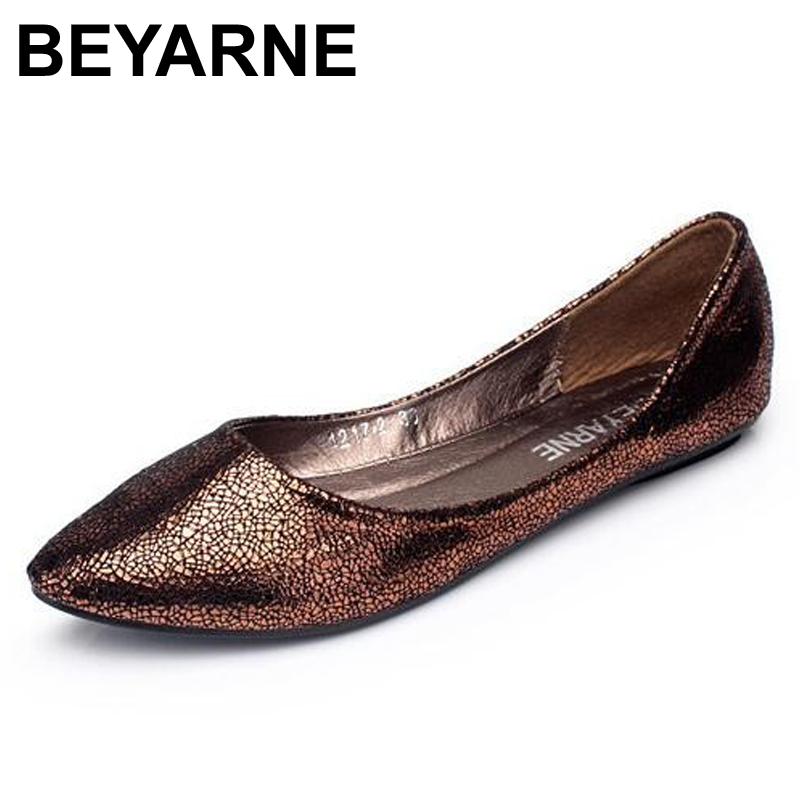 BEYARNE Free shipping 2017 new Europe and America Fan flat  fashion flats Pointy Toe shoes large size women 4 colors beyarne new spring and summer women flats shoes women pafty shoes candy color shoes have size 35 41 free shipping