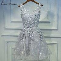 C V 2017 NEW Banquet Evening Dress Short Design V Neck Grey Sleeveless Emproidery Lace Organza