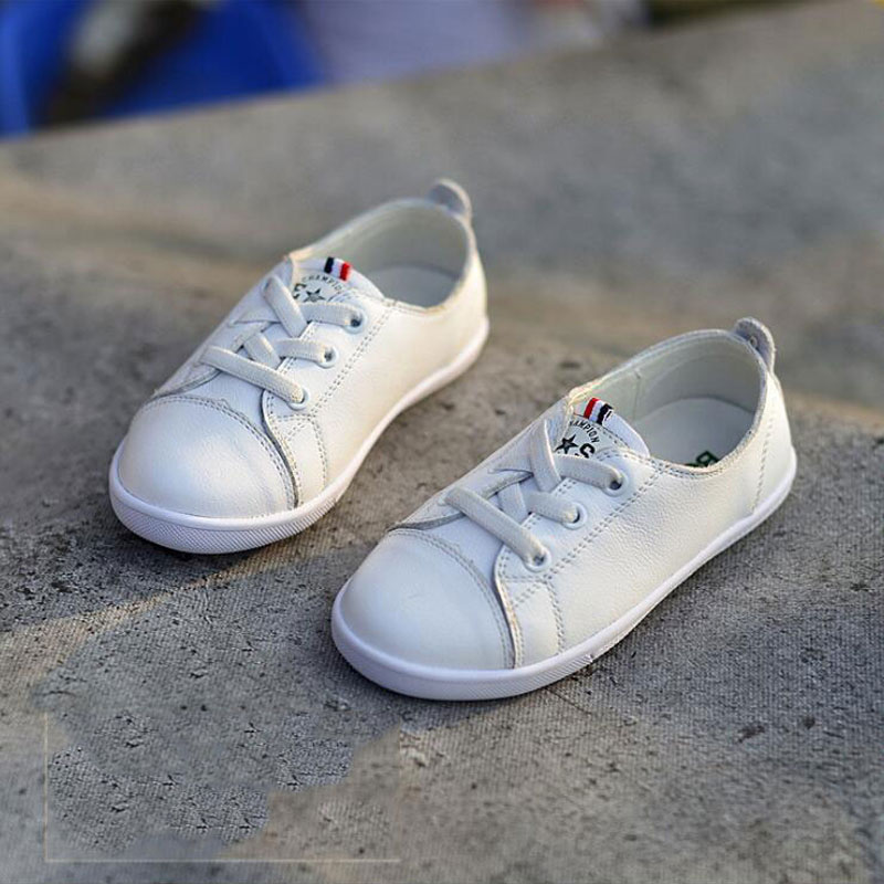 Children Genuine Leather Shoes Boy&girl Fashion Softy Sole Leather Shoes Lace-up Casual Shoes