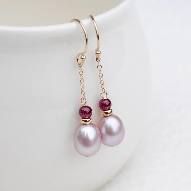 все цены на Lii Ji AA Real Pink purple Freshwater Pearl Garnet Beads,925 sterling silver Gold Color Handwork Drop Dangle Link Earrings онлайн