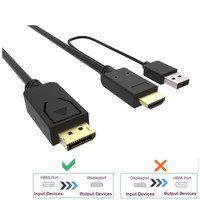 Hdmi to Displayport Cable with usb Power Adapter Hdmi to DP Male to Male Converter 2m for Macbook Dell Monitor hdtv PS3