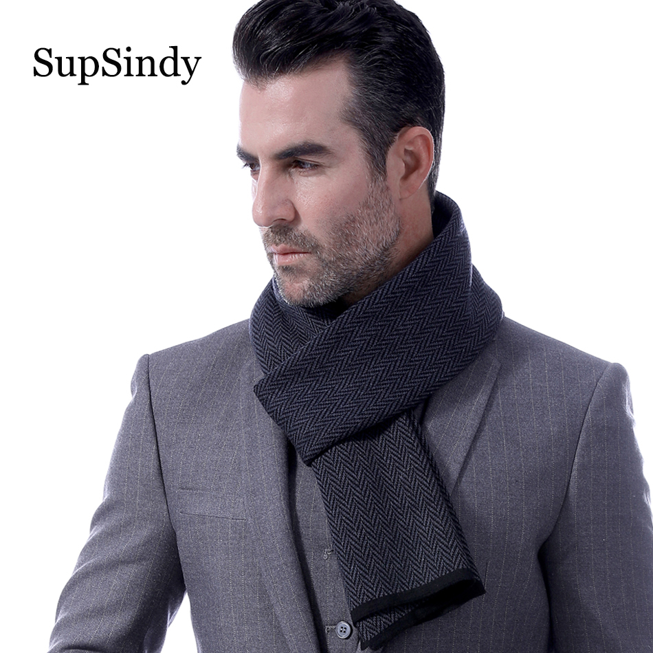 SupSindy Winter Scarf Men Wool Cashmere Fashion Casual Men Scarf Black Vintage Soft Pinstripe Scarves Luxury Shawl Man Warm Wrap