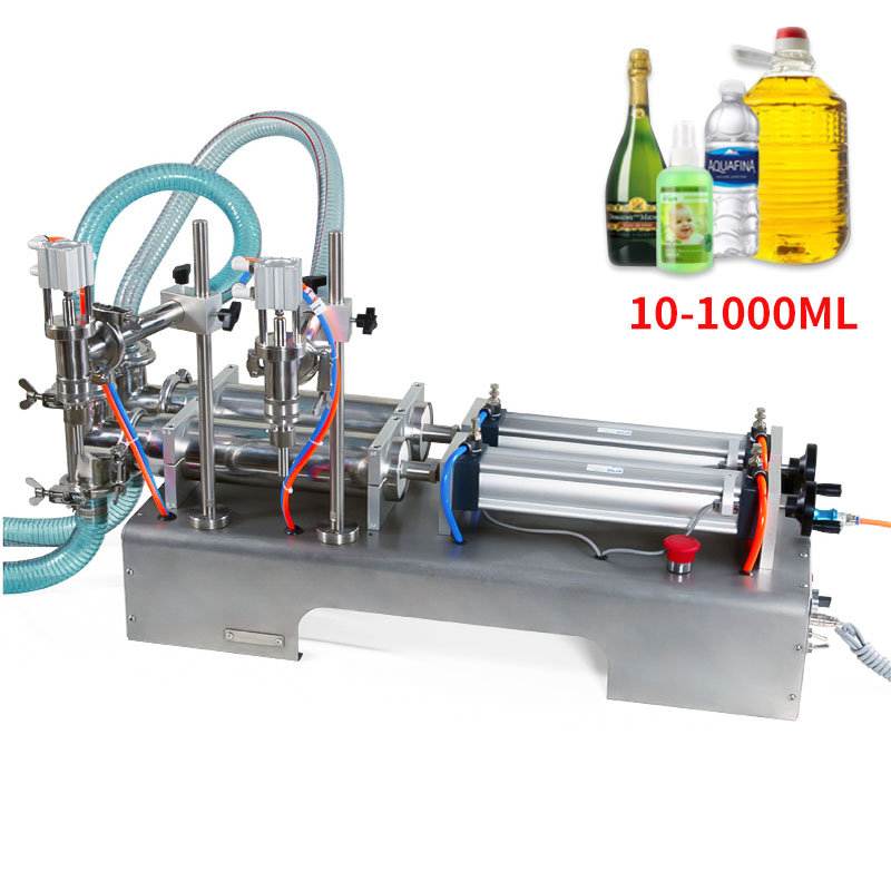 10-1000ML Electric Pneumatic Double Head Liquid Filling Machine Shampoo Gel Water Wine Milk Coffee Beverage Filling Machine