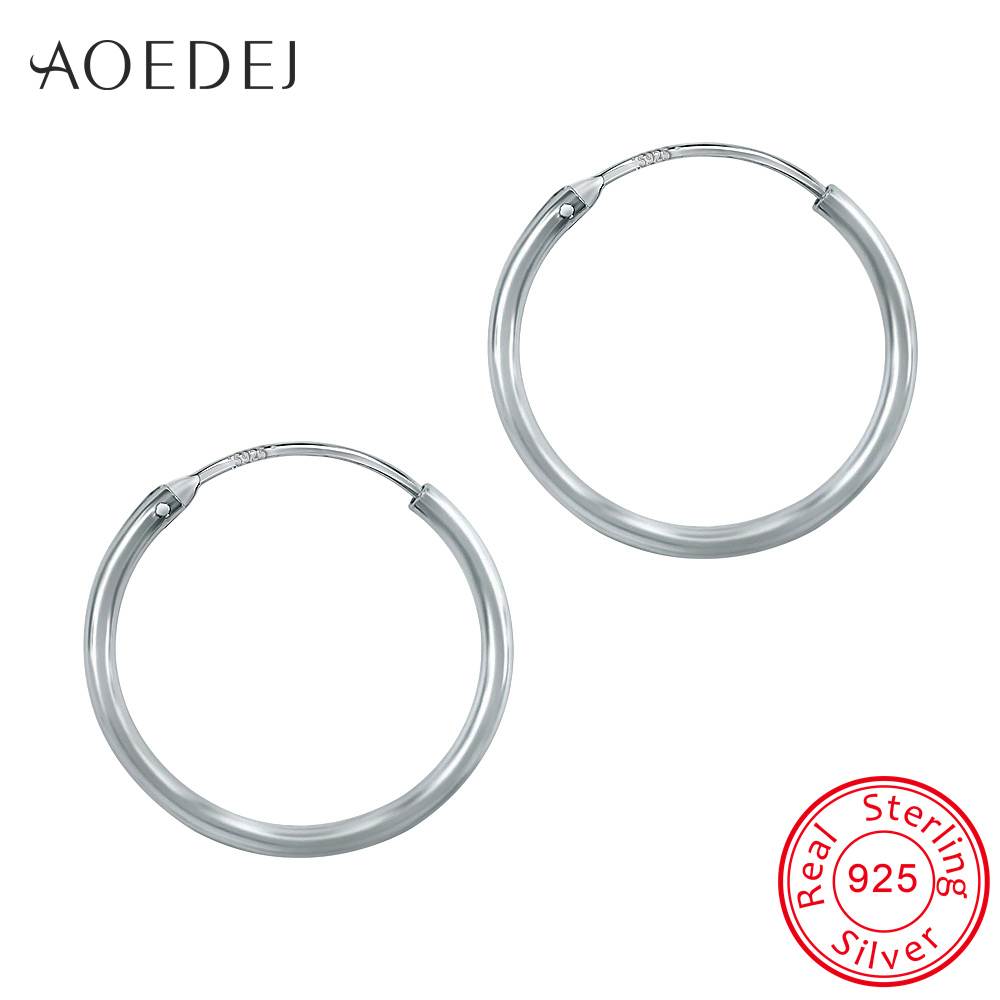 AOEDEJ 12-25mm Hoop Earrings Silver 925 Circle Small Hoop Earrings Silver Ladies 925 Sterling Silver Earrings For Women Men