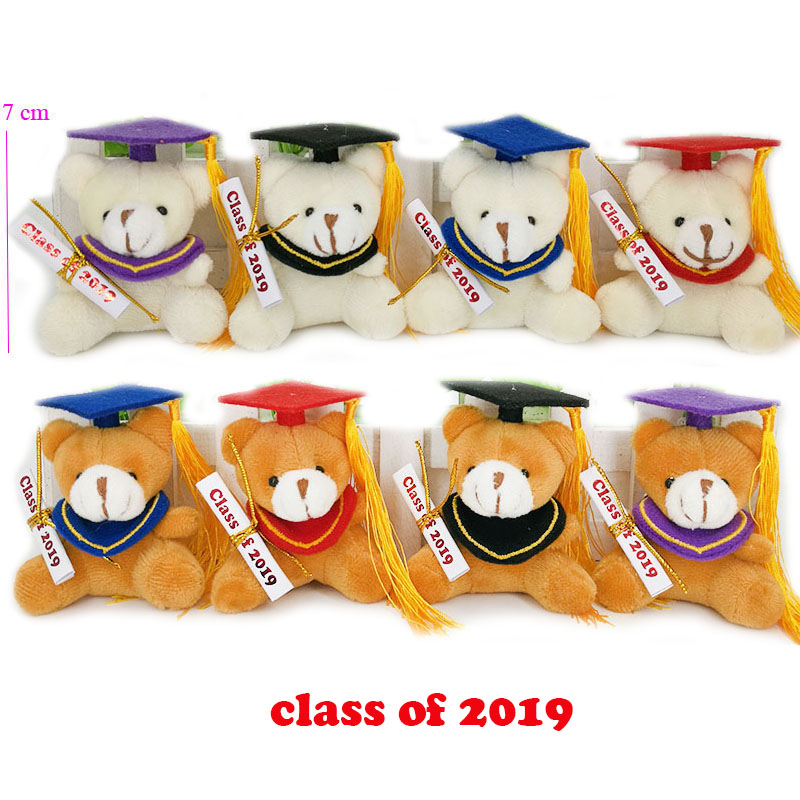 30 pcs lot class of 2019 7cm plush graduation teddy bear keychain stuffed graduation teddy bear