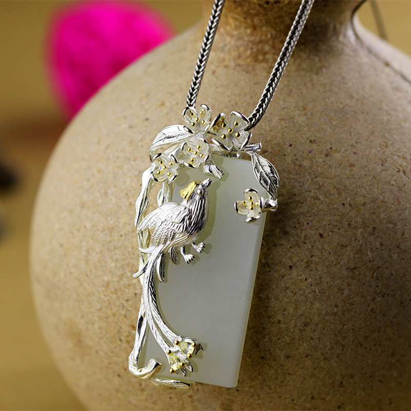 Buy S925 handmade sterling silver jewelry with silver lady natural Hetian jade silver pendant character for only 90 USD