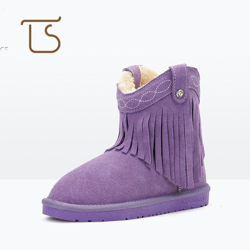 T.S. kids boots 2017 new baby shoes winter Warm Tassel Plush Genuine Cow Leather Kids Girls children's shoes Snow Boots  EU28-36