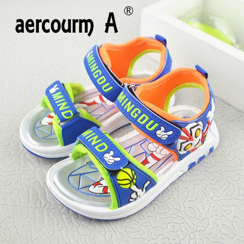 Aercourm A Boy Sandals 2018 Summer New Boys LED Cartoon Beach Sandals Childen Fashion Blue Orange Casual Sandals Light 26-31