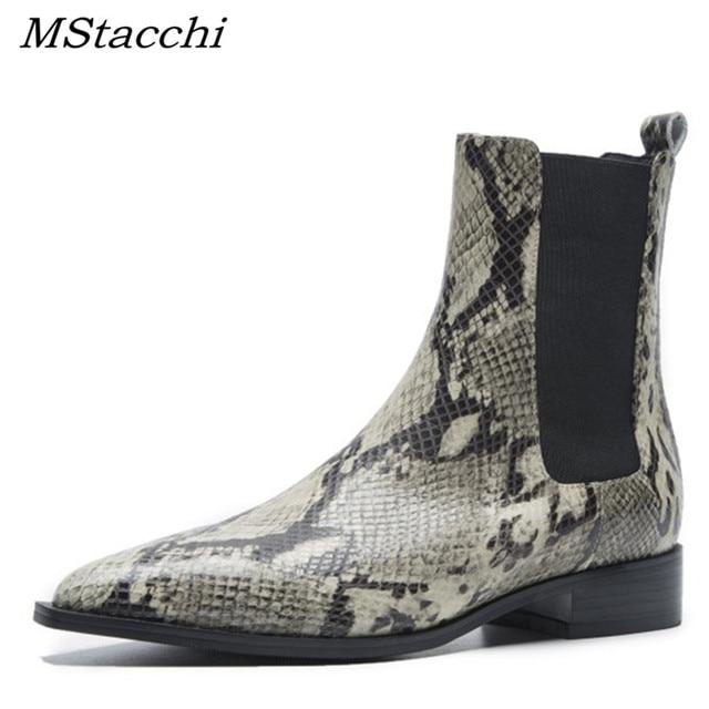 MStacchi Yılan Derisi Deri Chelsea Çizmeler Sivri Burun Pist yarım çizmeler Kadınlar Için Düşük Topuk Şövalye Çizmeler zapatos de mujer botas