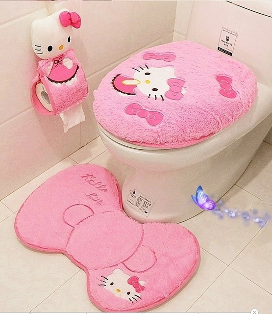 Hello Kitty Bathroom Set Toilet Cover Mat Holder Closestool Lid Products Accessories