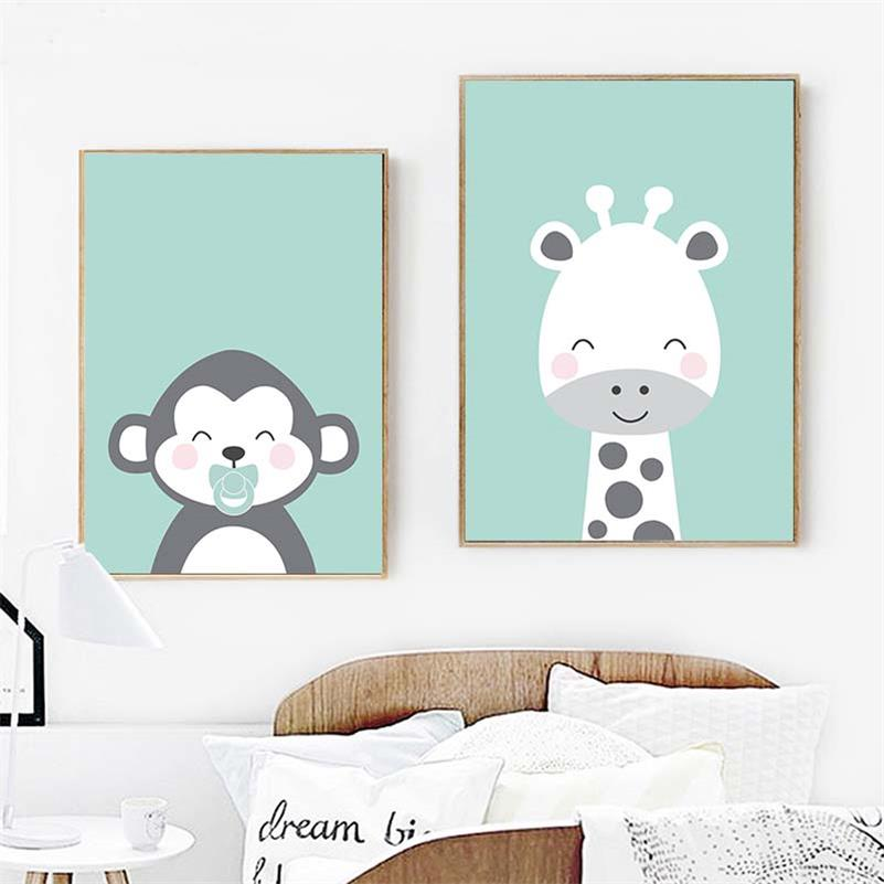 Woodland Animal Picture Fox Monkey Decor Wall Art Canvas Painting Cartoon Wall Pictures For Kids Bedroom Decor Unframed in Painting Calligraphy from Home Garden