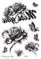 SC2971 HD Grande Taty Esboço Black White Rose Flores Borboleta Arte no Corpo Tatuagem Temporária de Transferência de Água Adesivos Tatoos Falsas