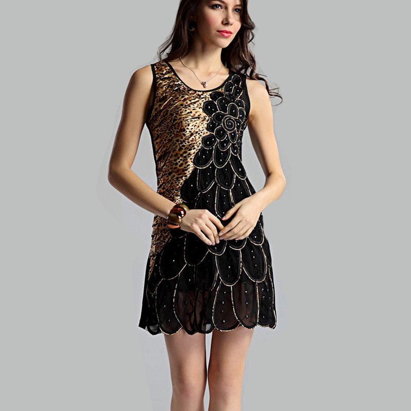 2015 Schwarz Pfau Design Sexy Leoparden Kleid Kleid Elegante Partei Netz Mini Kleider Patchwork Plus Grosse Kleidung Neue Ankunft Dress Applique Dress Datingdress Kitty Aliexpress