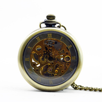 1088 Luxury Brand Men Stainless Steel Skeleton Case Male Antique Hand Wind Steampunk Mechanical Pocket Watch