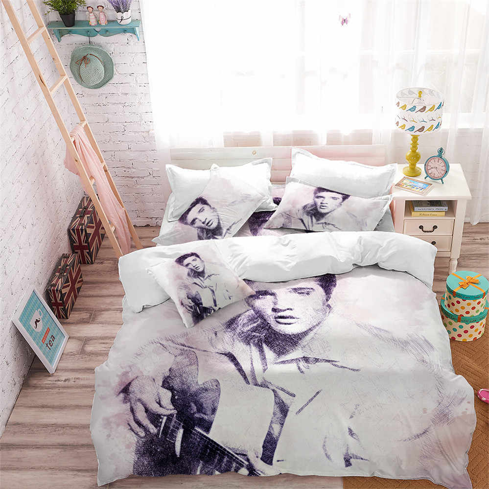 Classic Portrait Bedding Set Elvis Presley Print Duvet Cover Set King Queen Bedding Pillowcase The King Fans Bedroom Decor D40