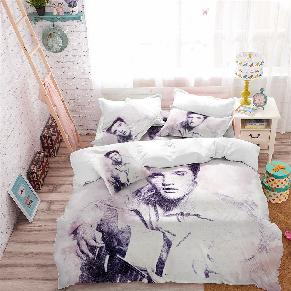 Classic Portrait Bedding Set Elvis Presley Print Duvet Cover Set King Queen Bedding Pillowcase The King Fans Bedroom Decor D40