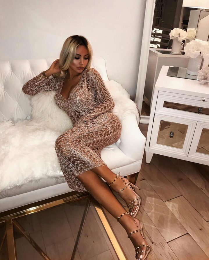Rose Gold Color Ladies Long Sleeve V Neck Bodycon Mid calf Dress Hollow Out Celebrity Fashion Dress