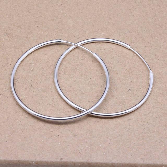 Online Shop 50mm Genuine 925 Sterling Silver Big Hoop Earrings Out