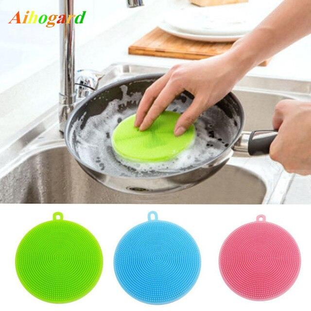 1 PC magique Silicone plat brosse Durable bol nettoyage brosses à récurer Pad Pot Pan lavage tissu nettoyage cuisine accessoires 5 couleur