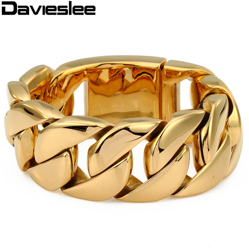 Davieslee Mens Chain Heavy Bracelet 316L Stainless Steel Gold Color Punk Hip Hop Jewelry Round Curb Cuban Thick Link 31mm LHB127