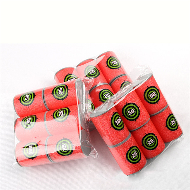 Surwish 6Pcs/2set EVA Soft Bullet Target Gun Shoot Dart for Nerf N-strike Elite Blaster Red ToyFor Children