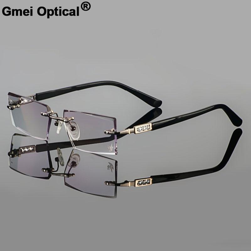 Gmei Optical Titanium Alloy Men's Diamond Trimming Cutting Rimless Glasses Frame With Gradient Grey Tint Plano Lenses YD924