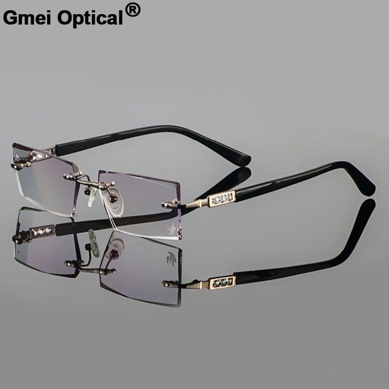 Phantom taglio titanium Occhiali di sesso maschile modello di cristallo del diamante di taglio del metallo di pistola senza montatura finito occhiali da vista YD924