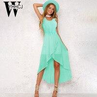 WYHHCJ 2018 New Elegant Summer Dress Sleeveless O Neck Solid Fashion Women Dress Asymmetry Chiffon Hot