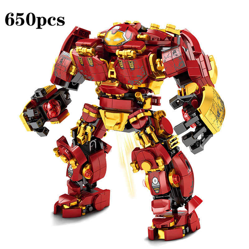New arrival 650Pcs Marvel Avengers Super Heroes Red Iron Man Hulkbuster Mech Building Blocks Toys For children Christmas Gifts