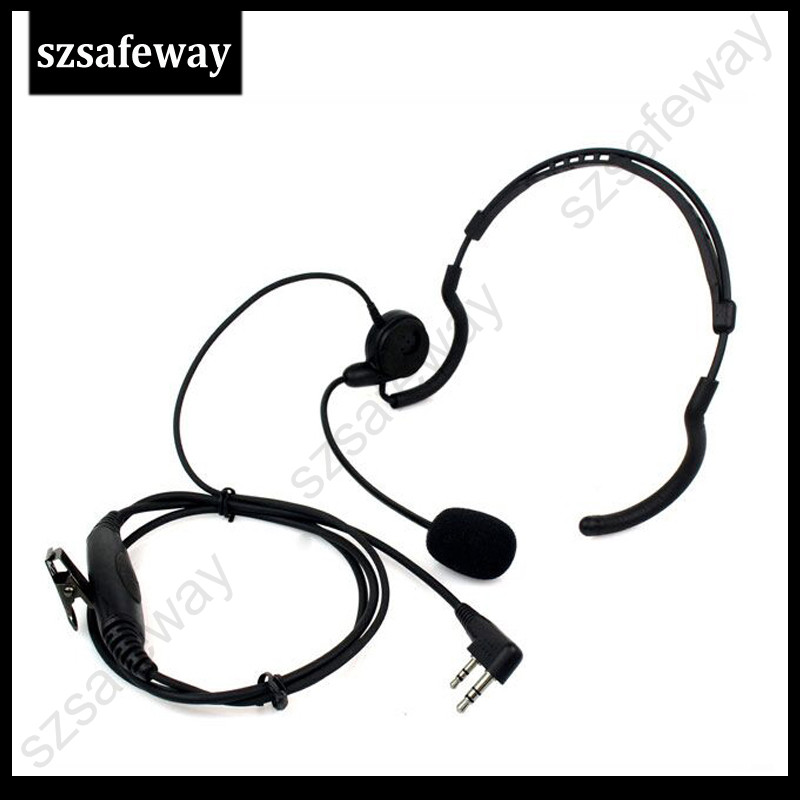 Walkie Talkie Behind The Head Headset With In Line Big PPT Push To Talk For Kenwood And Baofeng UV-5R KG-UVD1
