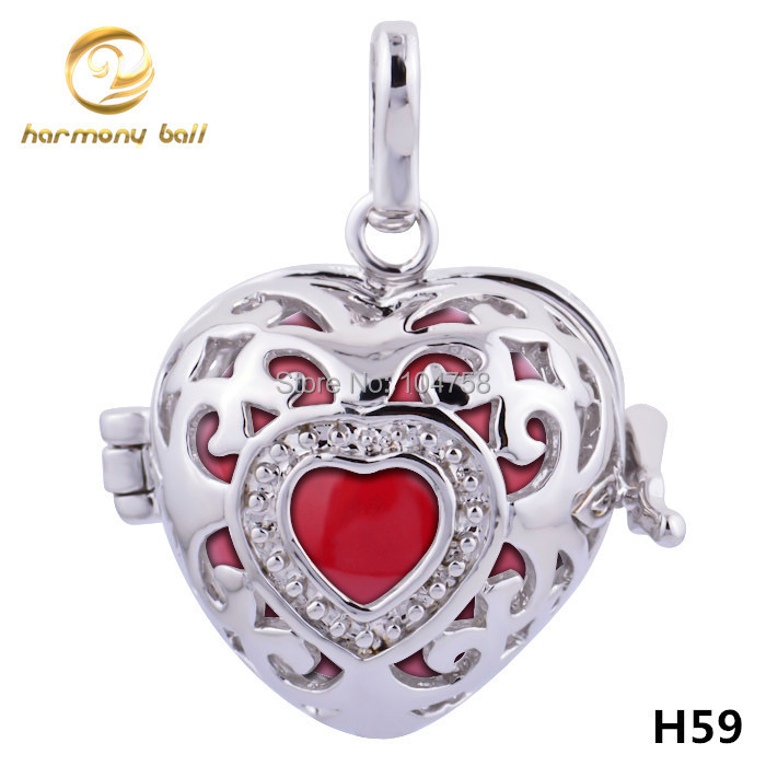 H59 18 Designer Jewelry 18mm Heart Cage Including 16mm Multicolor Harmony Ball Mexican Bola Pendant For