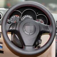 Black Artificial Leather Car Steering Wheel Cover For Old Mazda 3 Mazda 5 Mazda 6 2003
