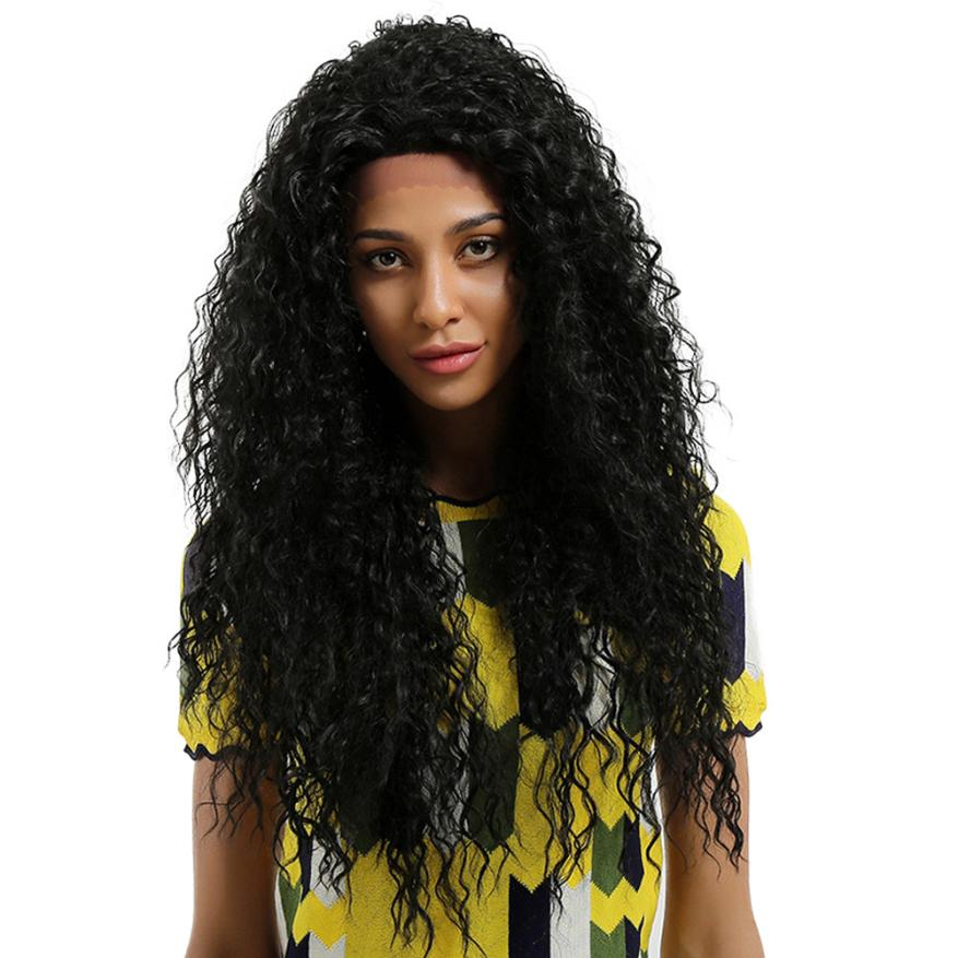 Glueless Resistant Lace Front Women Black Small Rolls Hair full wig lace deep wave 0621 anogol glueless синтетический парик фронта шнурка long body wave brown high temperature теплостойкие волоконно париков