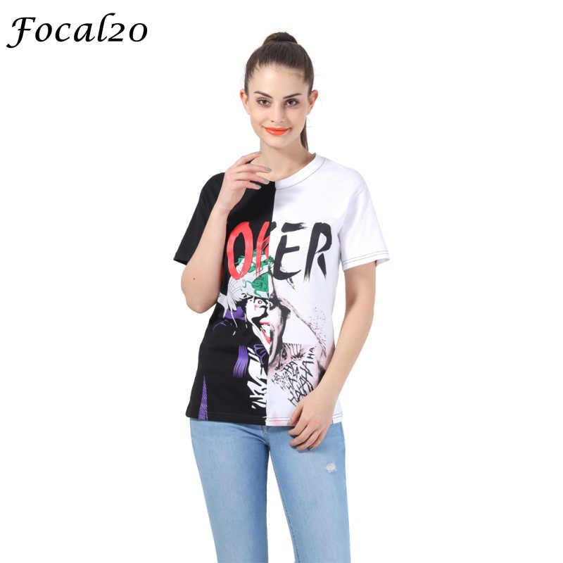 Focal20 Харадзюку граффити Джокер печати Женская футболка Летняя с коротким рукавом сшивание цветная графическая Футболка Топ уличная
