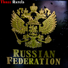 Three Ratels MT-015# 98*80mm 80*65mm 1-2 pieces metal nickel car sticker Double-headed eagle coat of arms Russian national