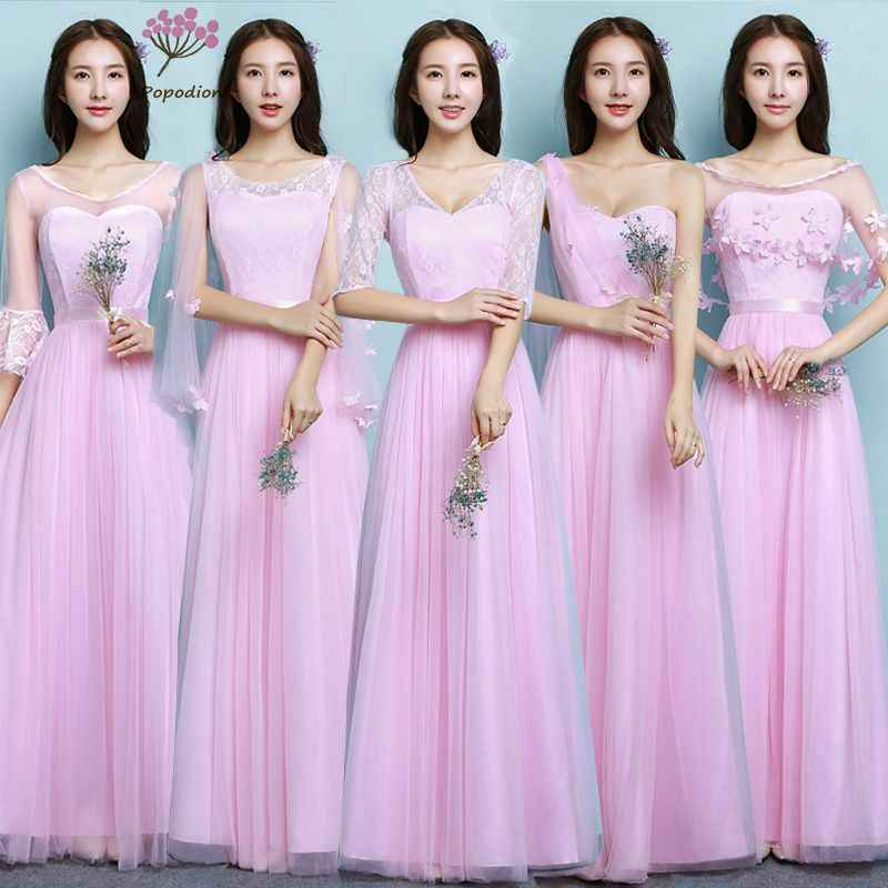 2018 Popodion long bridesmaid dresses sister wedding party dress  bridesmaids dresses for women vestido de festa bd7349149622