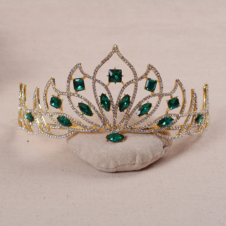 Baroque Golden Bridal Tiara Red Crystal Bride Diadem Green