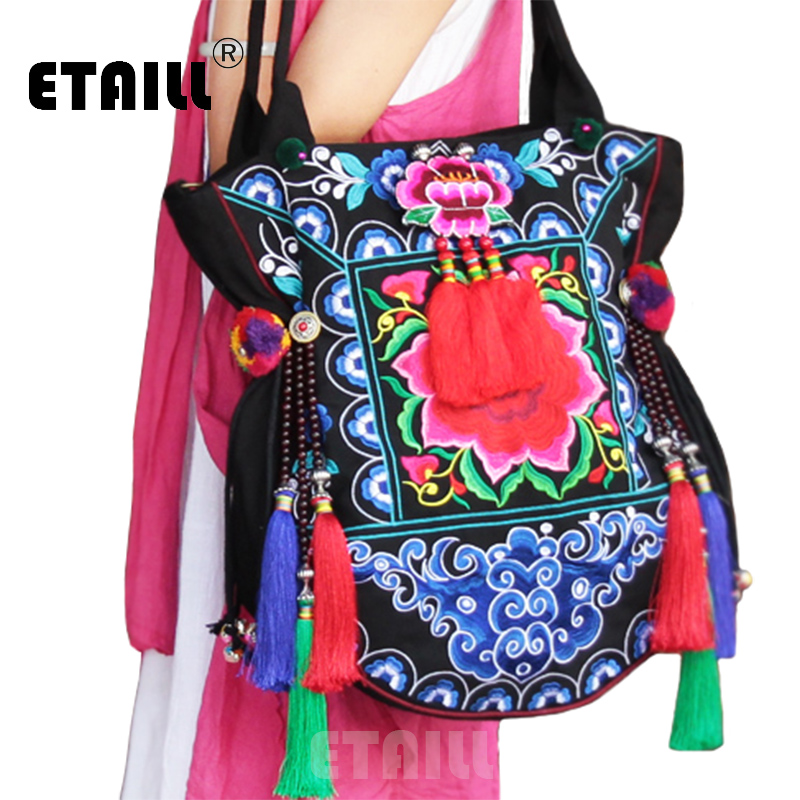Original Folk Style Bohemia Exotic Embroidery CanvasTassel Handbags Handmade Beaded Pompon Shoulder Bags Handbag Sac a Dos Femme a three dimensional embroidery of flowers trees and fruits chinese embroidery handmade art design book