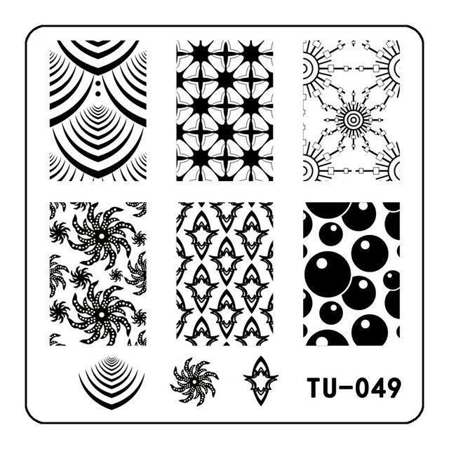 5.9cm*5.9cm Square Plates Nail Art Templates Wheel Round Stamping ...