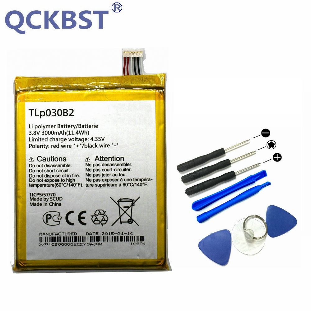 QCKBST TLp030B2 TLp030B1 3000mAh Battery & Repair Tools For Alcatel One Touch Pop S7 OT 7045 <font><b>7045Y</b></font> Vodafone Phone +Tracking Code image